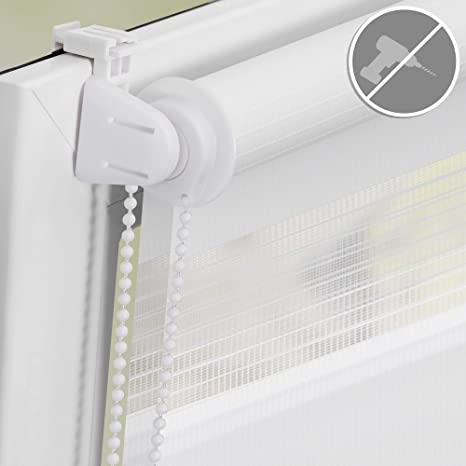 Duo Blind Double Roller Blind Klemmfix Adjustable Clamp Roller Blind Easyfix Without Drilling White
