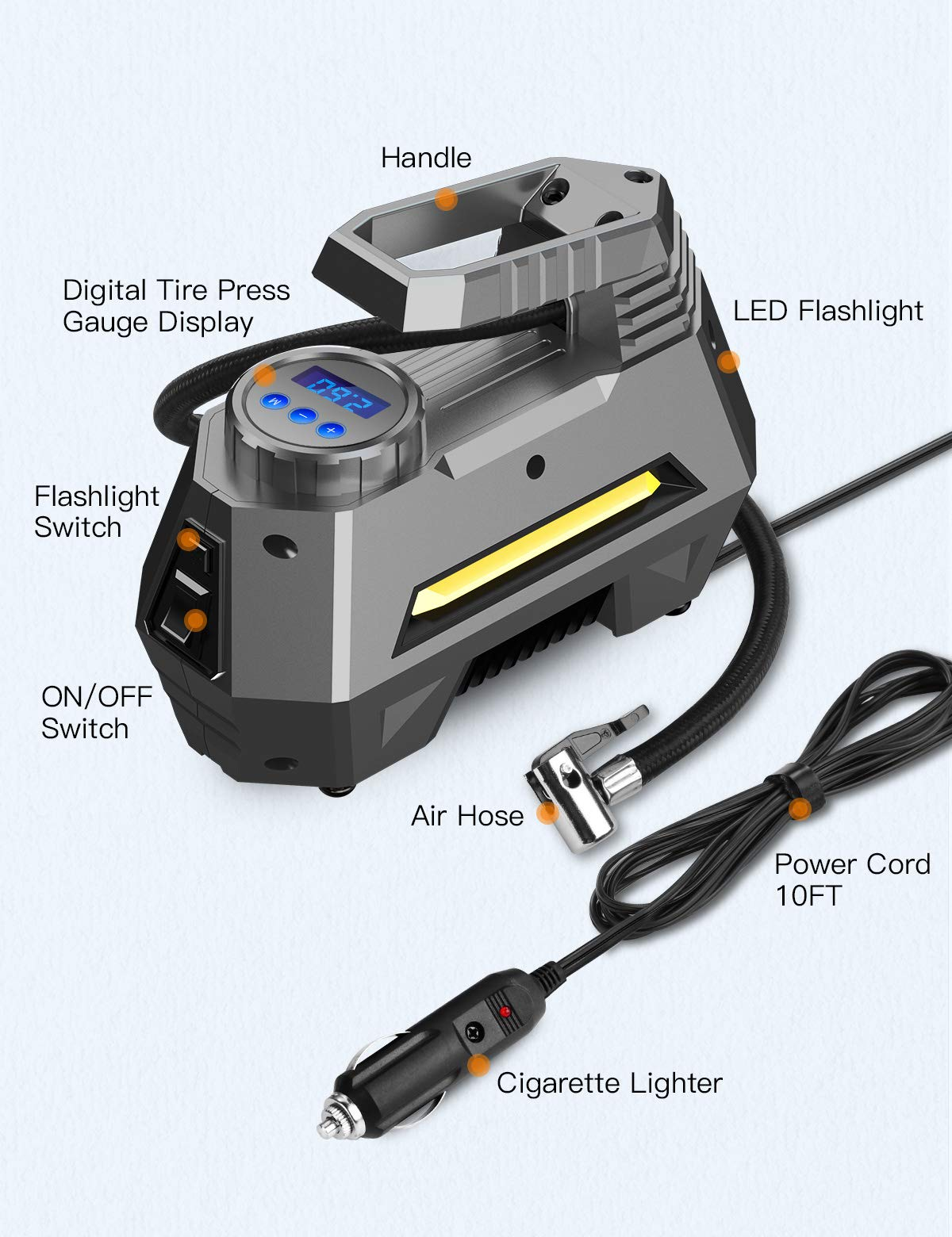 JOYROOM Portable Air Compressor Tire Inflator - Car Tire Pump with Digital Pressure Gauge (150 PSI 12V DC), Bright Emergency Flashlight - for Auto, Trucks, Bicycles, Balls by JOYROOM (Image #5)