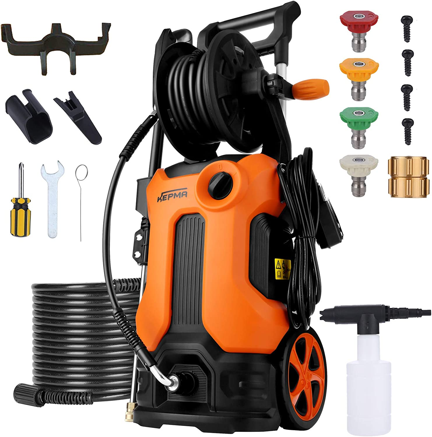 Kepma Electric Pressure Washer 3800 PSI 2.8 GPM Power Washer Deliver Up to 10000+ Cleaning Units, Soap Bottle and 4 Nozzles Delivers Different Pressure for Homes Cars Driveways Patios