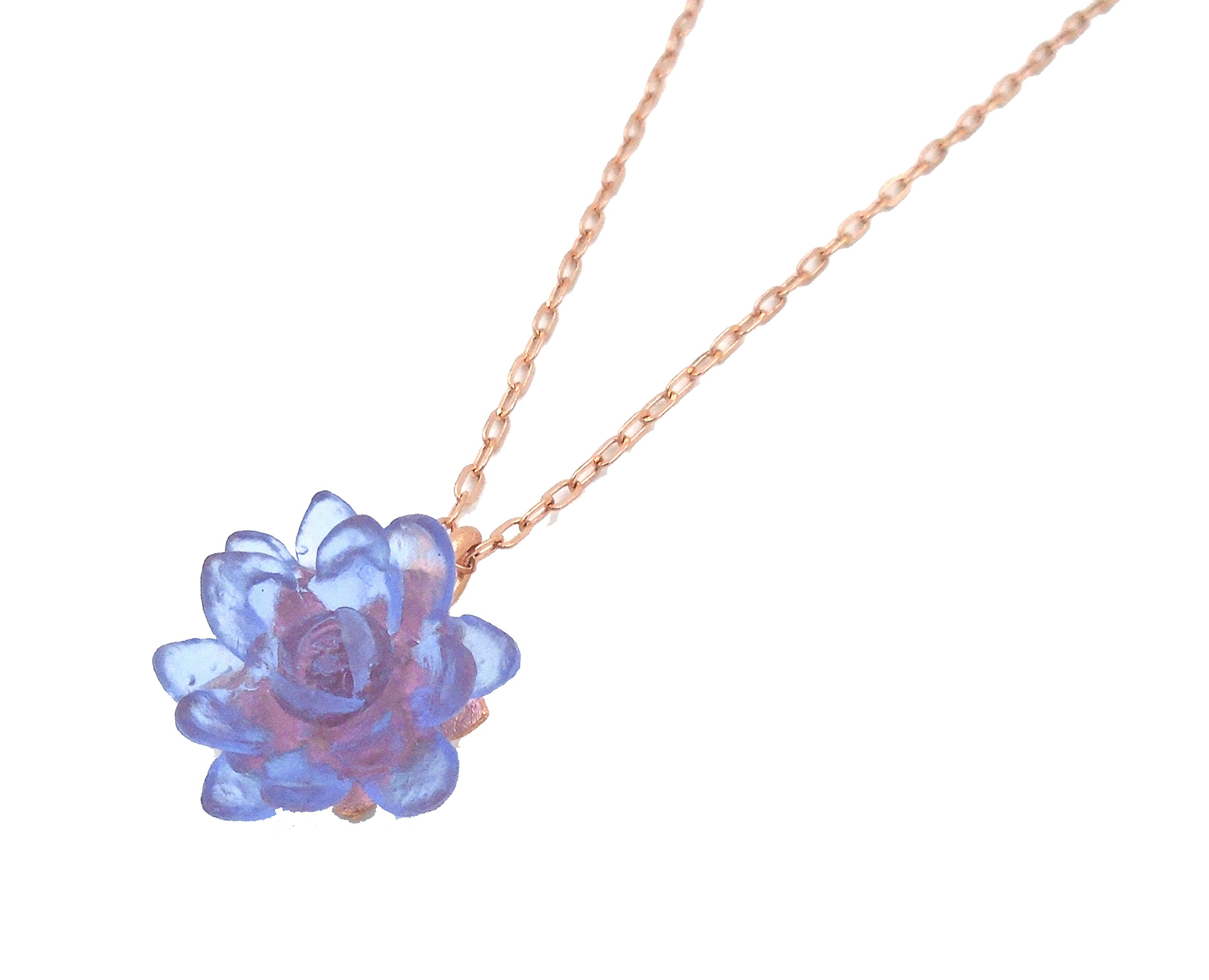 Michael Vincent Michaud- Glass ''Water Lily'' Pendant Necklace in Light Blue
