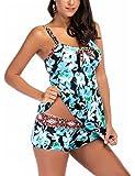 MY-baby Plus Size Women's Tankini Top with Shorts Two Piece Swimsuit Swimwear Summer Beachwear S-5XL
