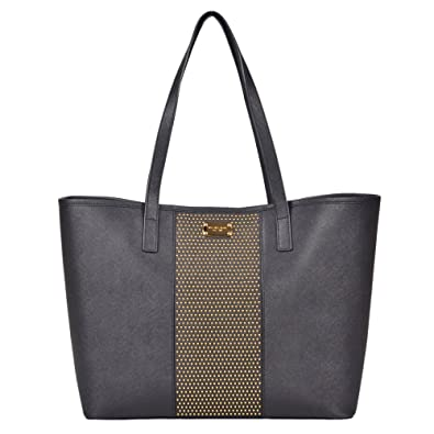 cec59cf8164b MICHAEL Michael Kors Large Microstud Center Stripe Travel Tote in Black:  Amazon.co.uk: Shoes & Bags