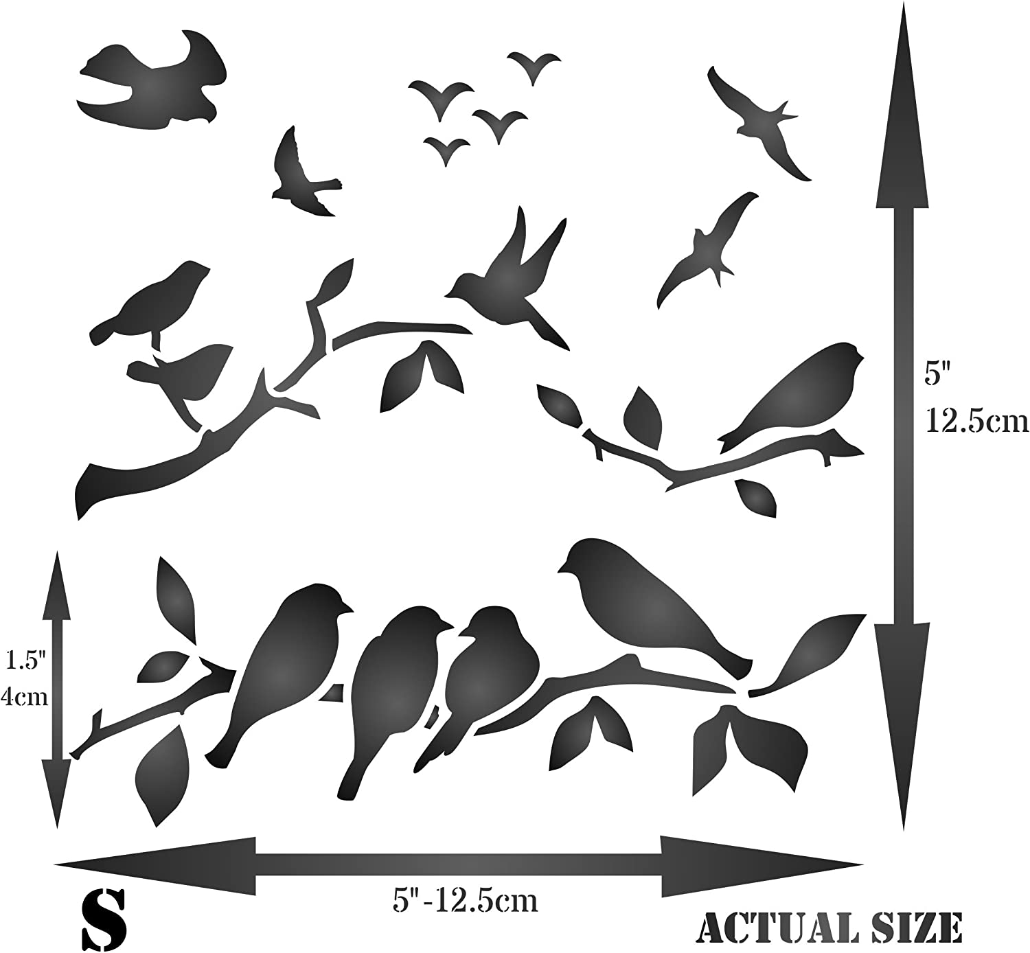 Birds On Branches Stencil 12.5 x 12.5cm Use on Paper Projects Scrapbook Journal Walls Floors Fabric Furniture Glass Wood etc. - Reusable Bird Branch Silhouette Wall Stencil Template S