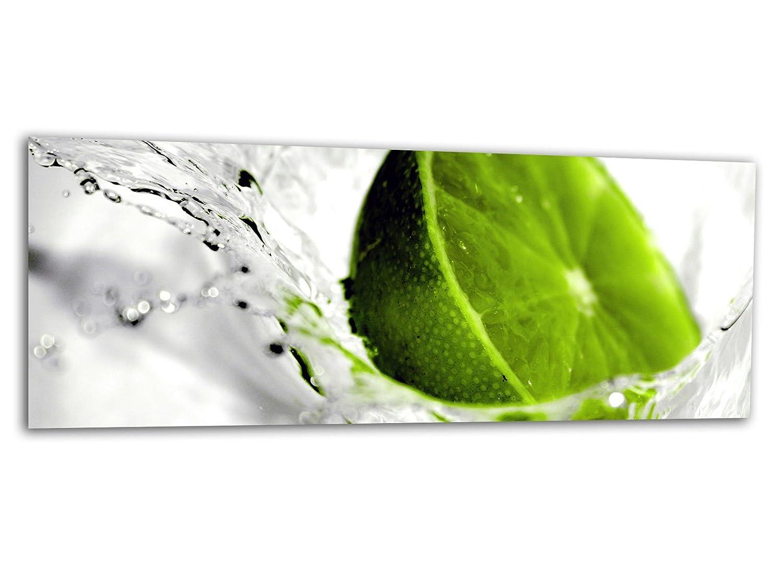 KD Dsign+ XXL Glasbild AG312500359 MURAL LEMON LIME WATER 125 x 50 cm/WANDBILD Deco Glass/Handmade