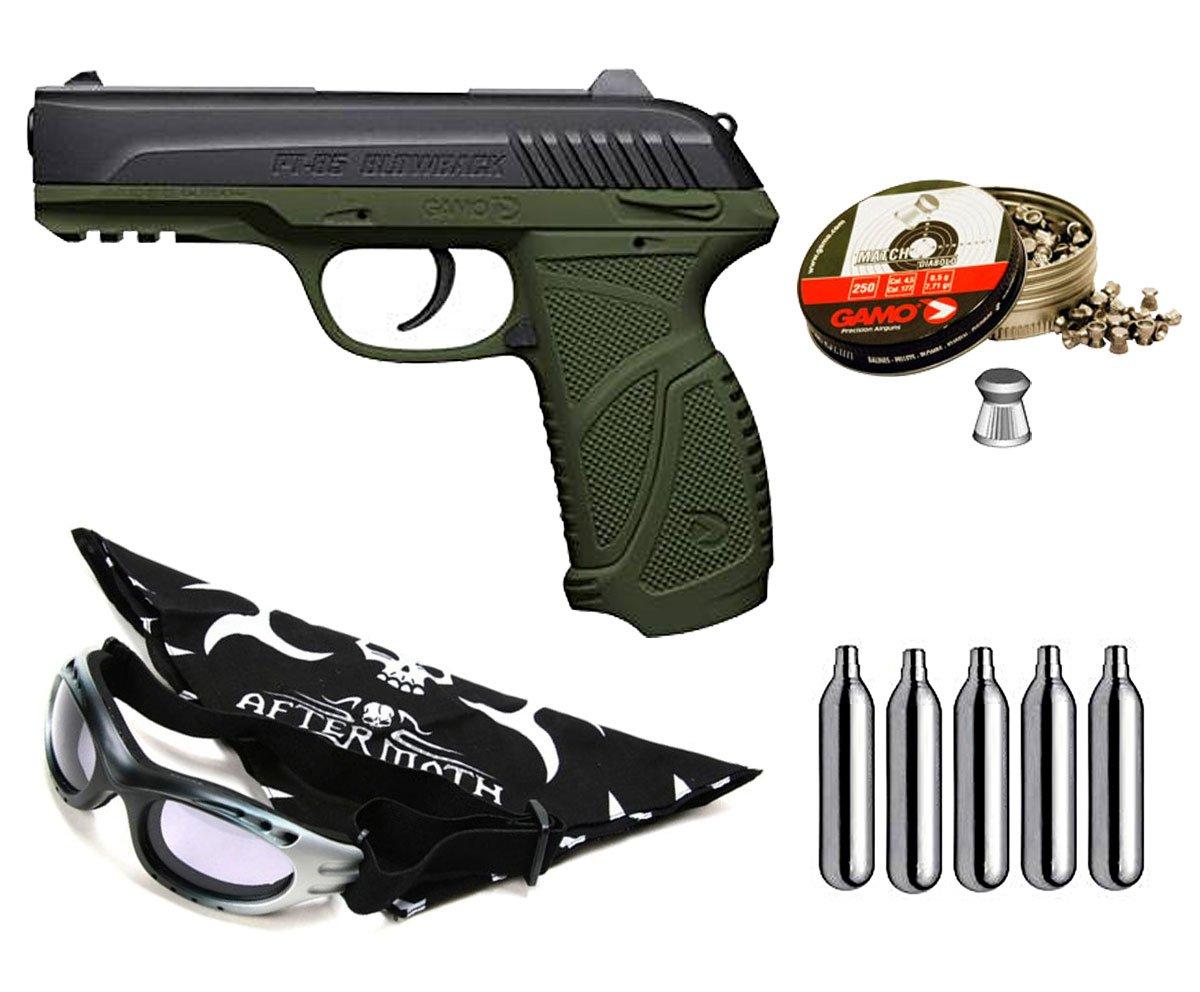 Pack pistola Perdigón Gamo PT-85 4,5mm Blowback Olive Drab. Potencia 2 Julios + gafas antivaho + pañuelo cabeza decorado, + balines + bombonas co2