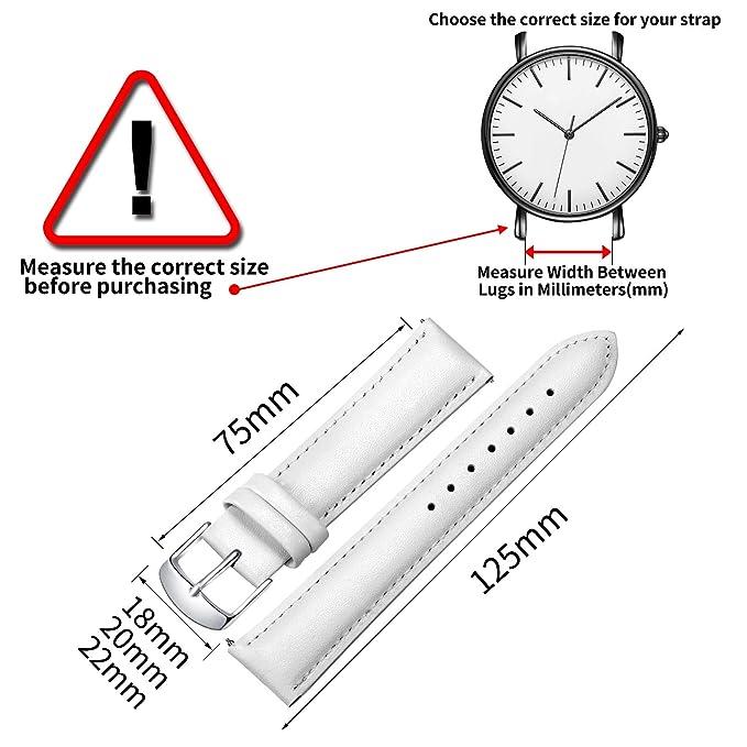 Liberación rápida Correa Reloj de Cuero, SONGDU Grano Completo Cuero Genuino Reemplazo Correa para relojes con Hebilla de Acero Inoxidable Cepillado 16mm ...