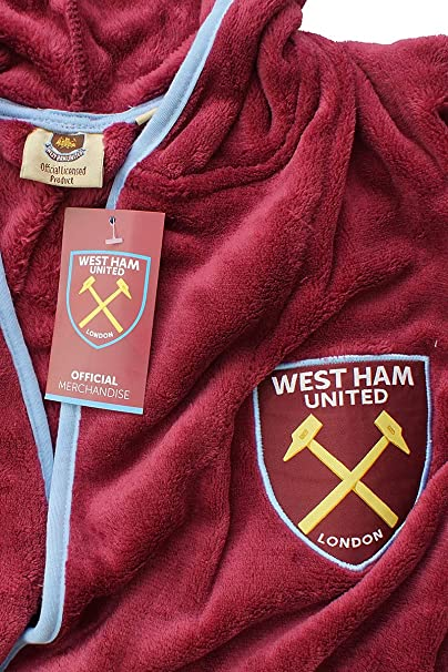Mens Official West Ham United Fc Fleece Dressing Gown Hooded