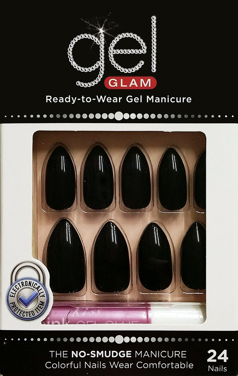 Kiss Gold Finger Gel Glam 24 Nails GFC08 BLACK STILETTO STYLE Ivy Enterprises Inc.
