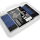 Castle Art Supplies 26 Piece Drawing and Sketching Pencil Art Set: Perfect for Beginners, Kids or Any Aspiring Artist - Includes Graphite Pencils and Sticks, Charcoal Pencils, Erasers and Sharpeners