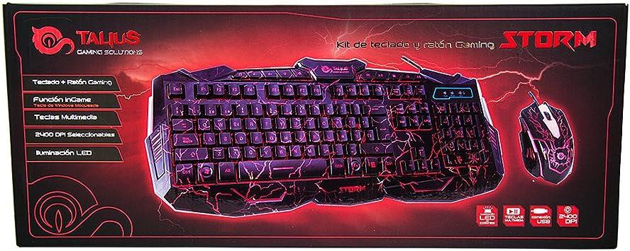 TALIUS Storm - Kit Teclado & ratón Gaming, iluminación LED, 2400 dpi