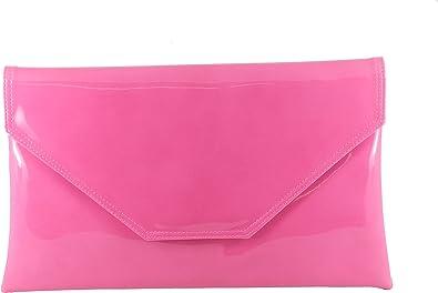 Fuschia Pink Womens Oversize Clutch Bag Ladies Large Envelope Purse Evening Bag