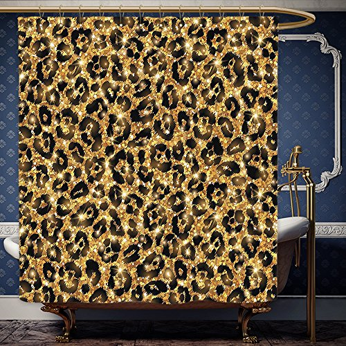 Wanranhome Custom-made shower curtain Safari Decor Leopard Skin Pattern with Gold Trendy Feminine Sexy Kitsch Rosettes Safari Theme Black Gold For Bathroom Decoration 60 x 78 - Me Near Water Find Towers