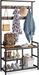 ODK 3 in 1 Coat Rack and Shoe Bench Entryway Storage Shelves, Multipurpose Furniture Organizer, Hall Tree with Industrial Design Metal Frame, Rustic Brown