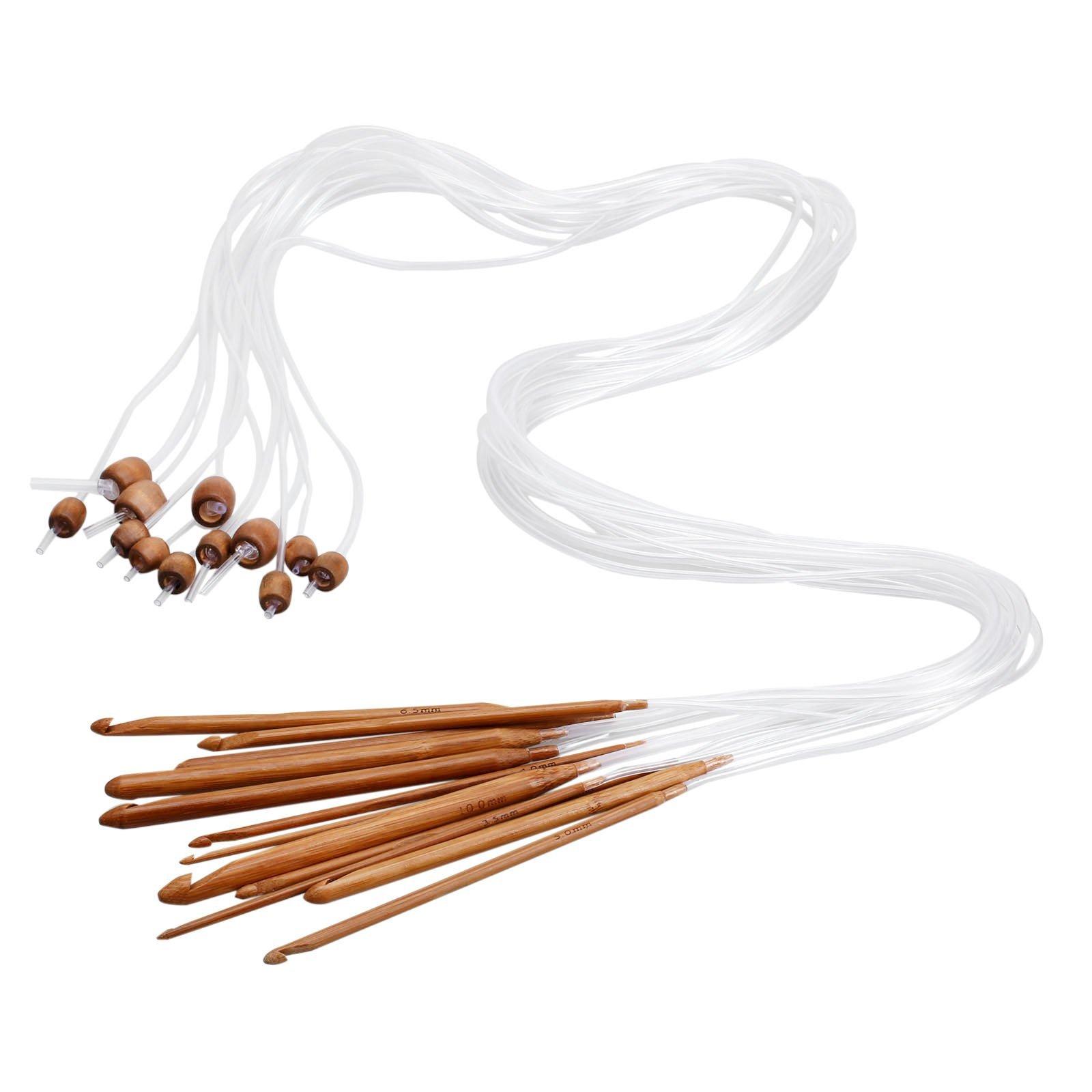 Dophee 12 Sizes 1.2M 48'' Afghan Tunisian Carbonized Bamboo Needle Crochet Hooks Set