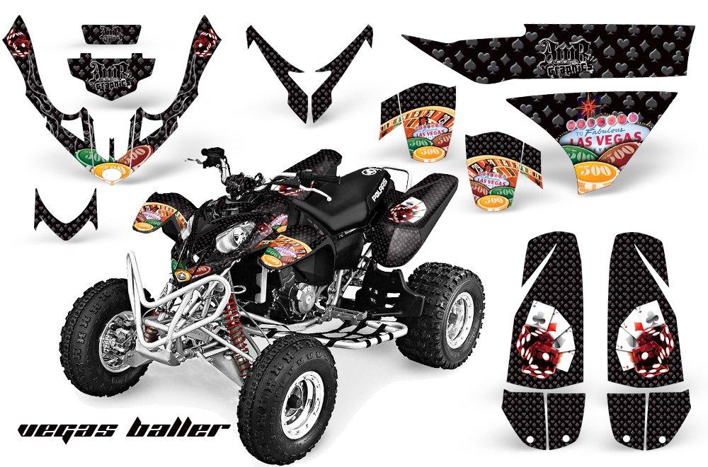 AMR Racing Graphicsキットfor ATVポラリスPredator 500 2003 – 2007 Vegas Ballerブラック   B0799YYQBX
