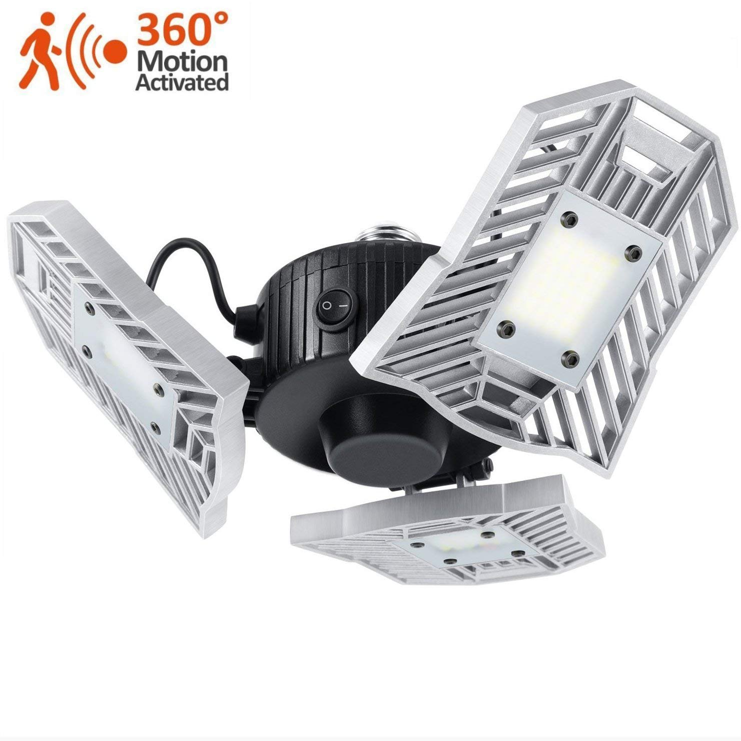Motion-Activated LED Garage Lighting, 6000 Lumens E26 Security Ceiling Light with Built-in Motion Detector, 6000K Daylight