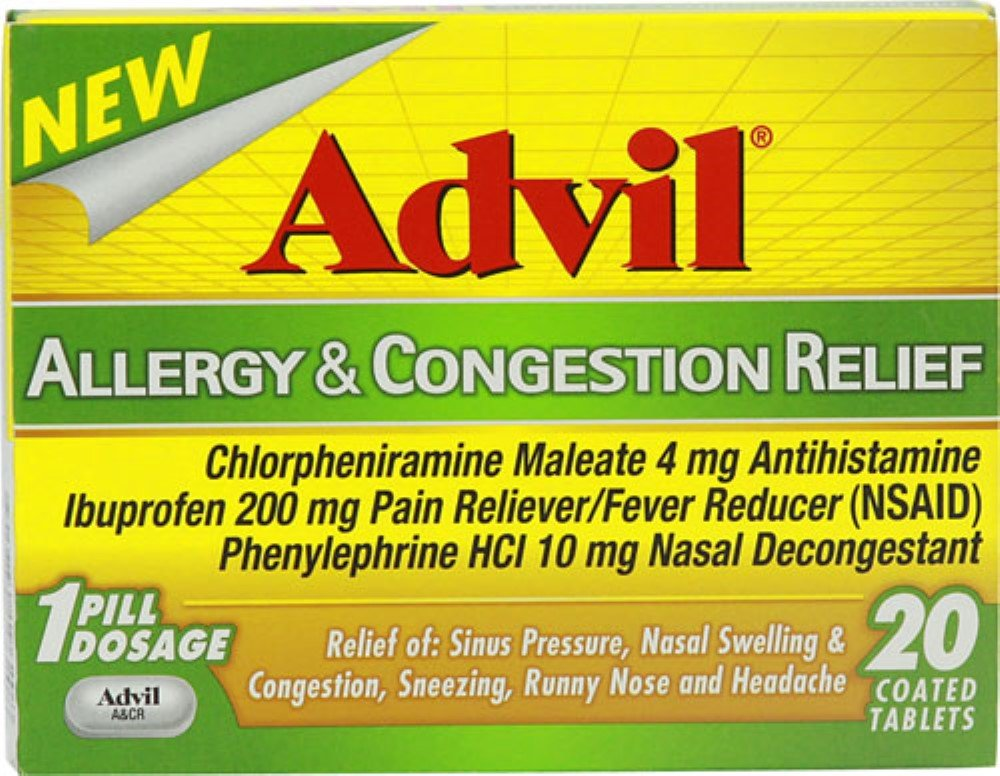 Advil Allergy & Congestion Relief Tablets 20 Tablets (Pack of 5) by Advil