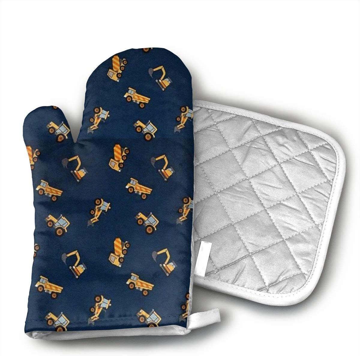 Star Blue Design Dump Truck Oven Mitts & Heat Resistant Pot Holder - with Polyester Cotton Non-Slip Grip, Best Used As Baking, Grilling, BBQ, Cooking, Kitchen Or Oven Gloves