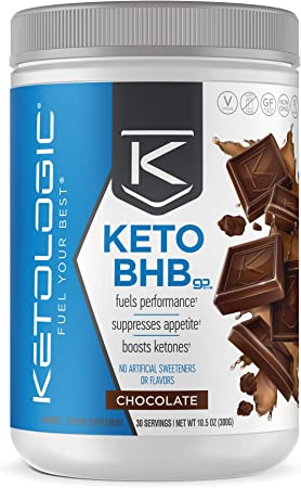 KetoLogic BHB Exogenous Ketones Powder + Electrolytes + Patented goBHB® for Max Results - Ketones Drink for Women & Men - Amplify Ketosis to Utilize Fat for Energy - 30 Servings - Chocolate