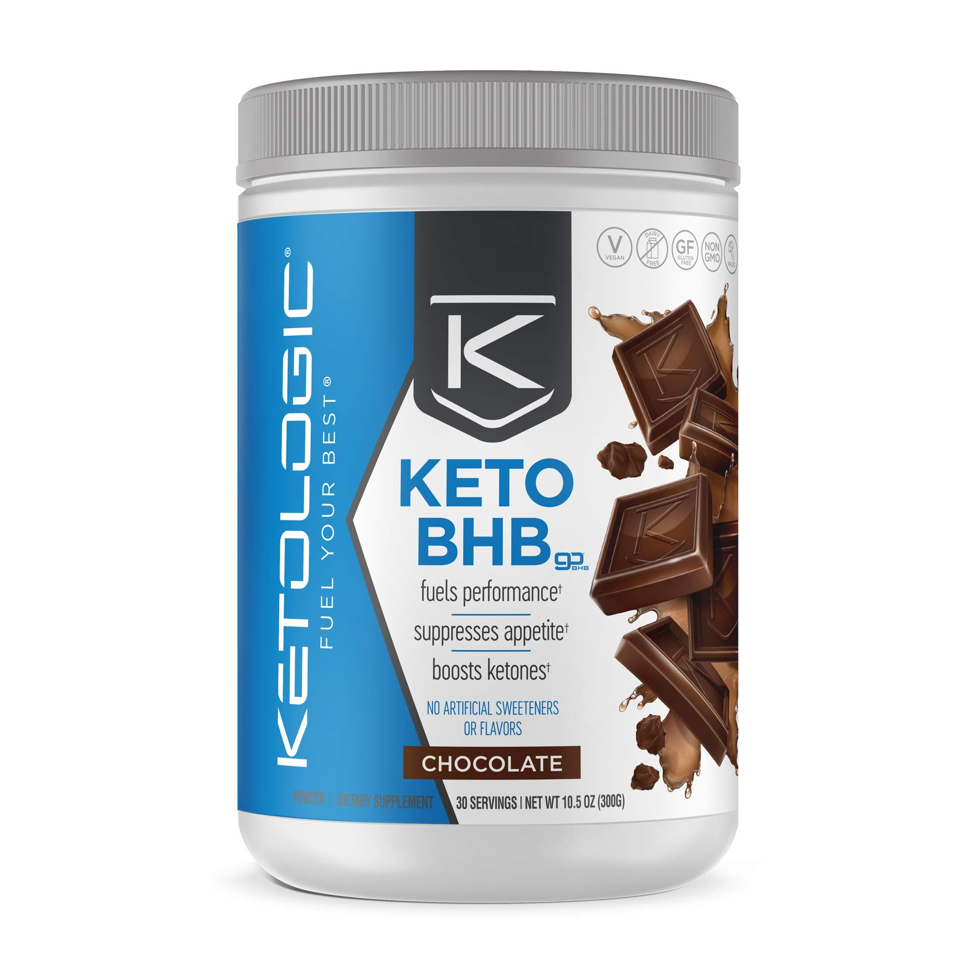 KetoLogic Keto BHB - Exogenous Ketones Supplement | Supports Ketosis & Weight Management, Increases Energy & Focus | Low Carb, Electrolytes, Beta-Hydroxybutyrate BHB Salts | Chocolate - 30 Servings