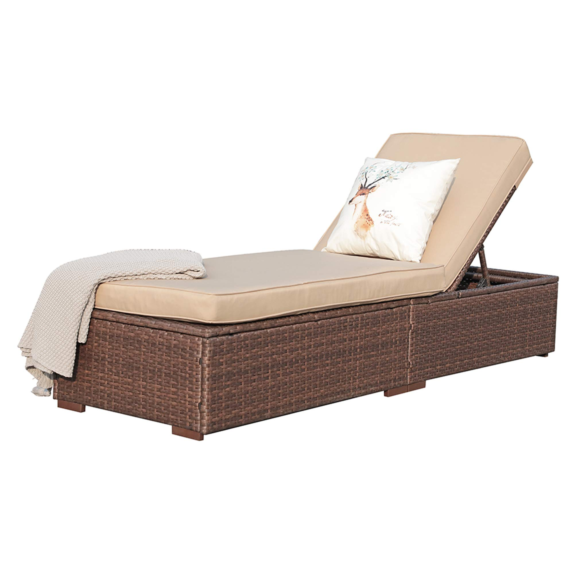 Super Patio Outdoor Adjustable Pool Rattan Chaise Lounge Chair with Steel Frame, Beige Cushions, Brown PE Wicker by Super Patio