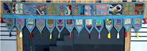 Trade Star Christmas Decorative Cotton Ethnic Wall Hanging Home Decor Vintage Patchwork Door Topper Valances Window Indian Valances Hand Embroidered Patchwork Toran (Pattern 3, 100 x 40 Cms)