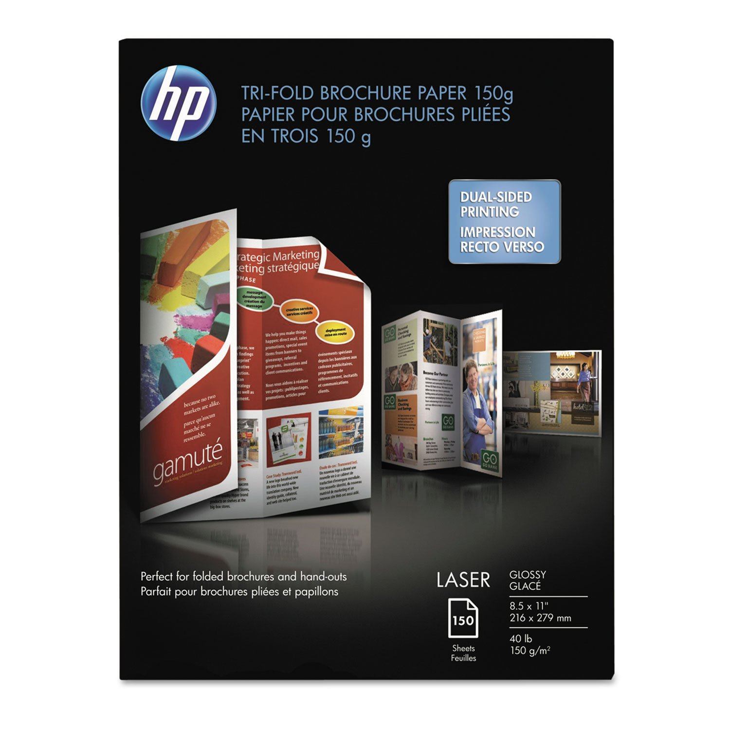 HP Brochure/Flyer Paper - For Laser Print - Letter - 8.50quot; x 11quot; - 40 lb - Smooth, Glossy - 97 Brightness - 150 / Pack - White