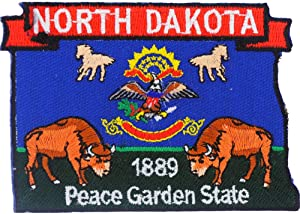 North Dakota State Shaped Map Embroidered Patch, with Iron-On Adhesive