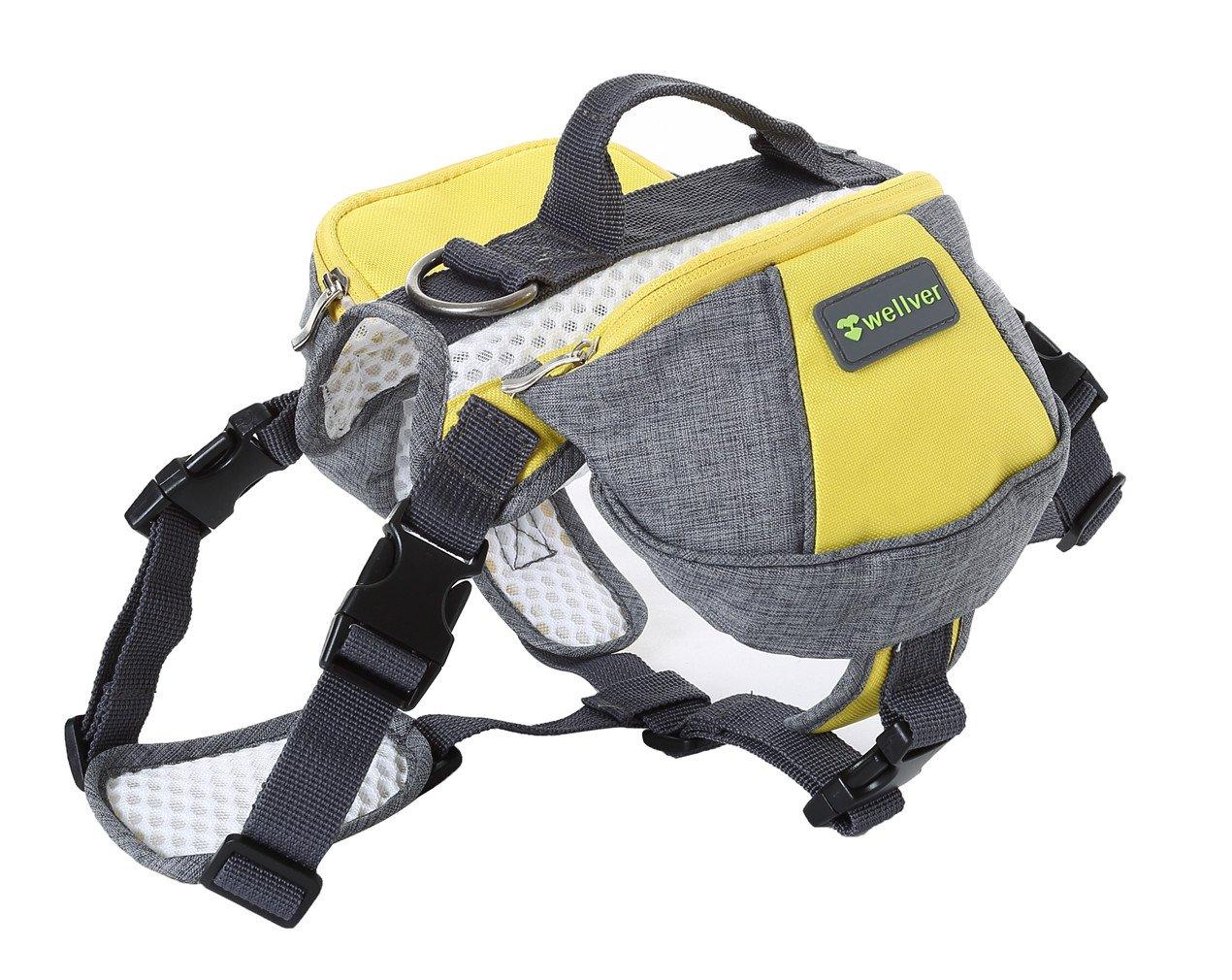 M Wellver Dog Backpacks Saddle Bag Outdoor Dog Packs for Hiking Walking Camping,M