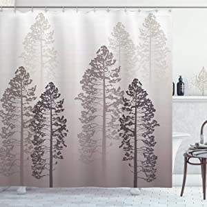 Ambesonne Country Shower Curtain, Pine Trees in The Forest on Foggy Seem Ombre Backdrop Wildlife Adventure Artwork, Cloth Fabric Bathroom Decor Set with Hooks, 84