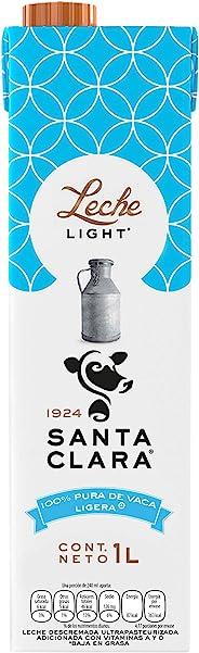 Santa Clara Leche Light 1 Litro, Paquete de 6