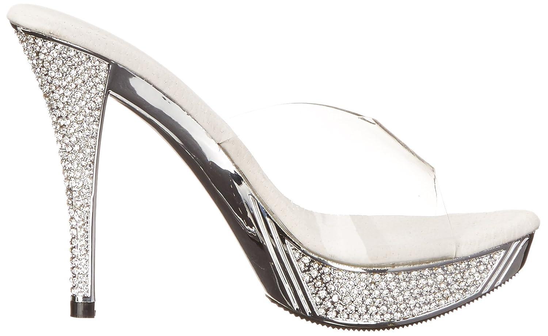 Women's Elegant Clear Rhinestone Encrusted Strapless Platform Sandal - DeluxeAdultCostumes.com