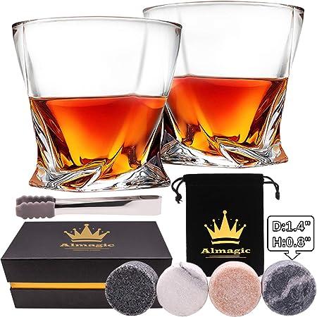 Almagic - Juego de 2 vasos de whisky de cristal sin plomo, de ...