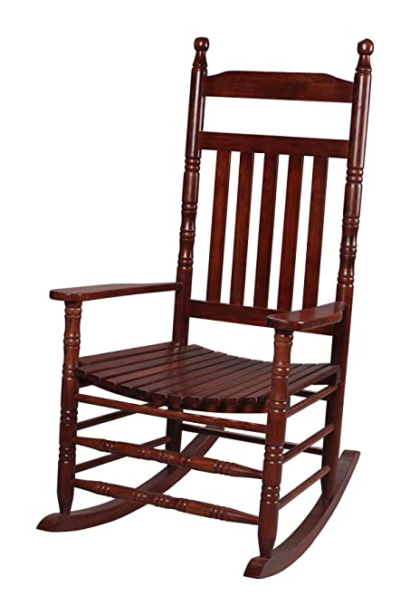 Great Gift Mark Deluxe Adult Rocking Extra Tall Back Chair, Cherry