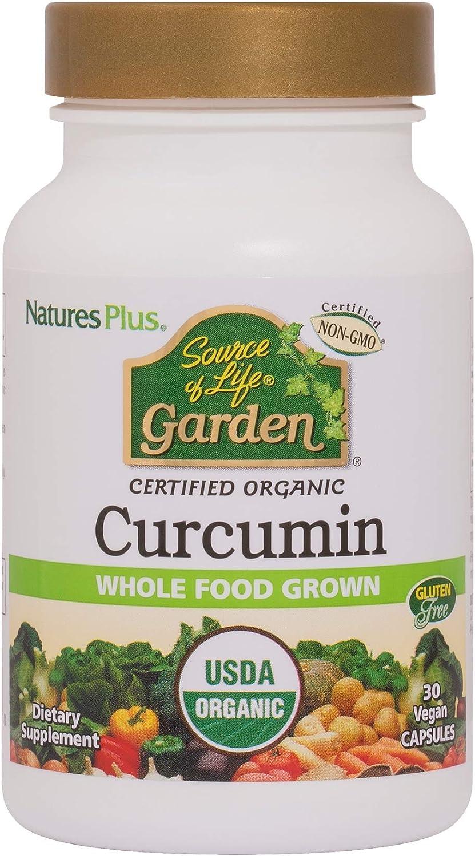 NaturesPlus Source of Life Garden Certified Organic Curcumin - 400 mg, 30 Vegan Capsules - Supports Healthy Brain Function & Joints, Anti-Inflammatory - Gluten-Free - 30 Servings