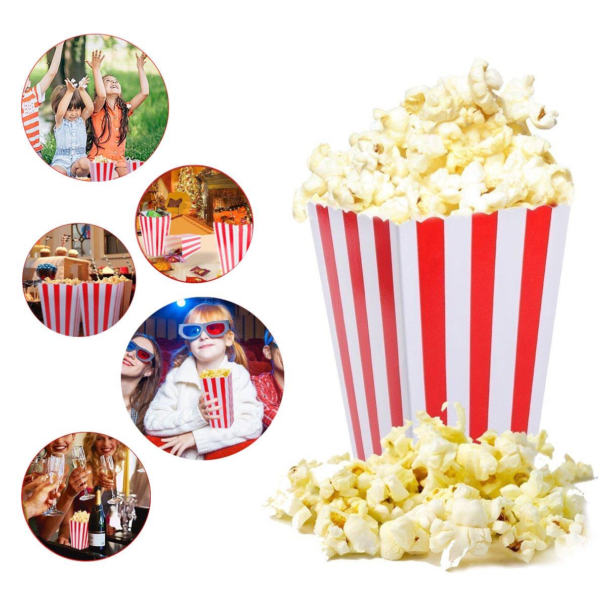para Fiestas ni/ños Rayas Rojas y Blancas Tankerstreet Bolsas de cart/ón para Palomitas Marca Teatro Cine 24 Unidades Regalos 01 cumplea/ños