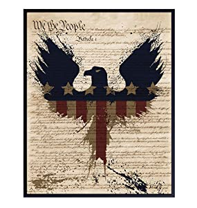 American Pride Dictionary Wall Art - 8X10 US Constitution Poster for Office or Home Decor - Patriotic Gift for Americana Fans - Vintage Decoration - Memorial, Veterans Day or 4th of July Print