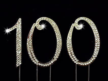 100th Birthday Wedding Anniversary Number Cake Topper With Sparkling Rhinestone Crystals