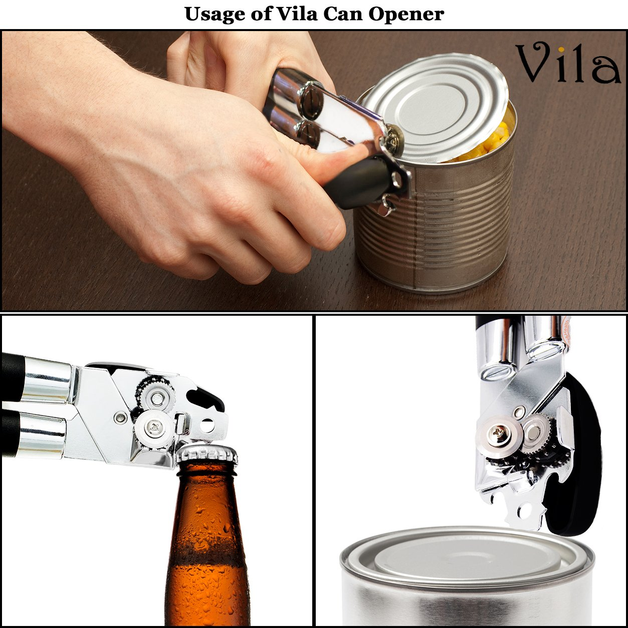 Bottle Opener Manual Comfortable Handles Silver and Black ...