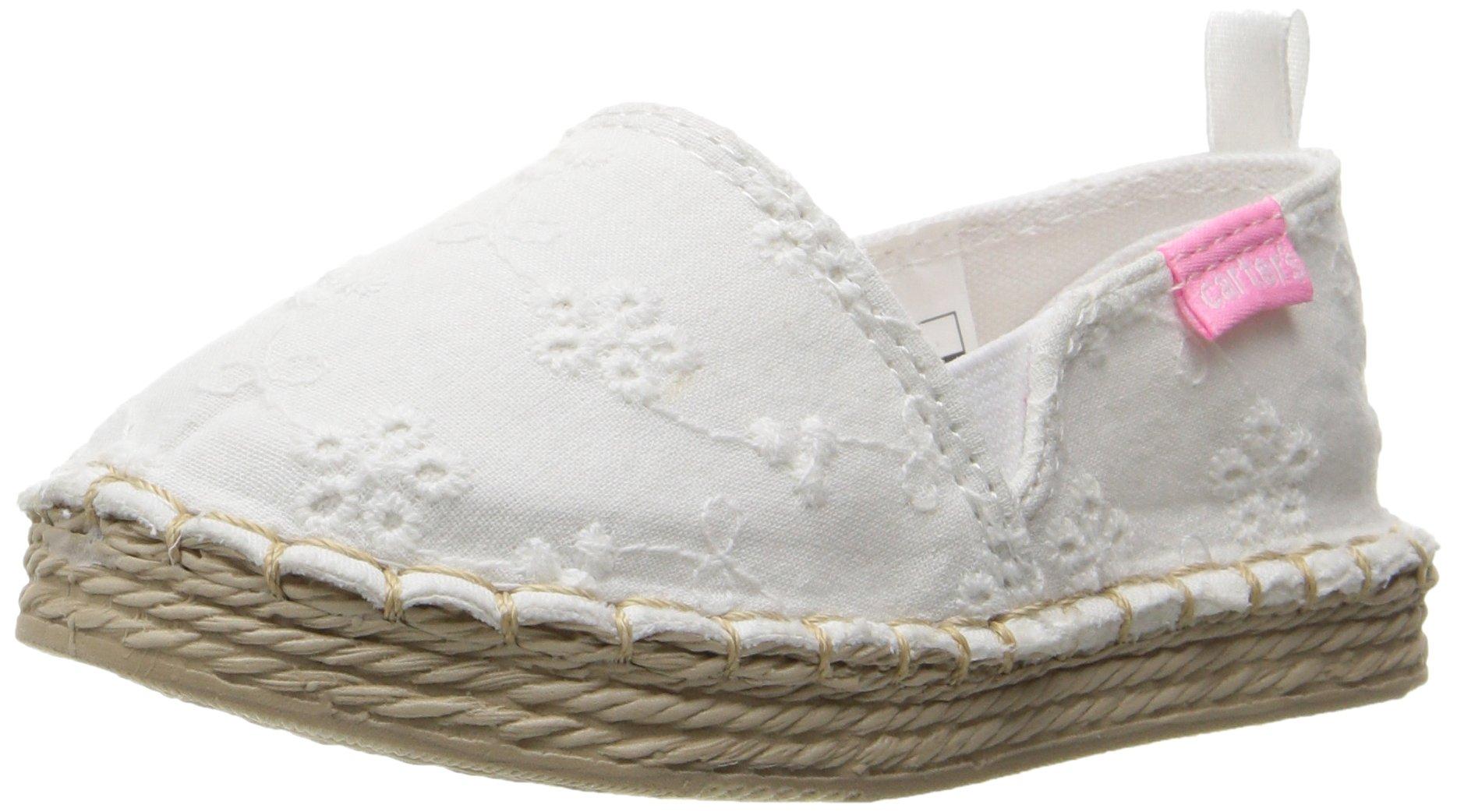 Carter's Astrid Girl's Espadrille Slip-On, White, 10 M US Toddler