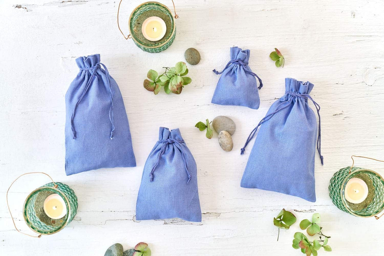 Baumwollbeutel in Gr/ö/ße 10x7,5 cm mit Baumwollkordel Adventskalender Creme Geschenks/äckchen 12 Baumwolls/äckchen