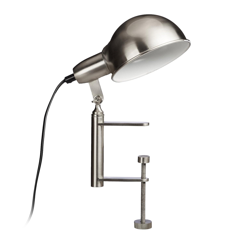 Relaxdays Lampada con pinza clip grigia da tavolo morsetto avvitabile E27 nichel opaco HLP 27 x 15 x 22,5 cm argento