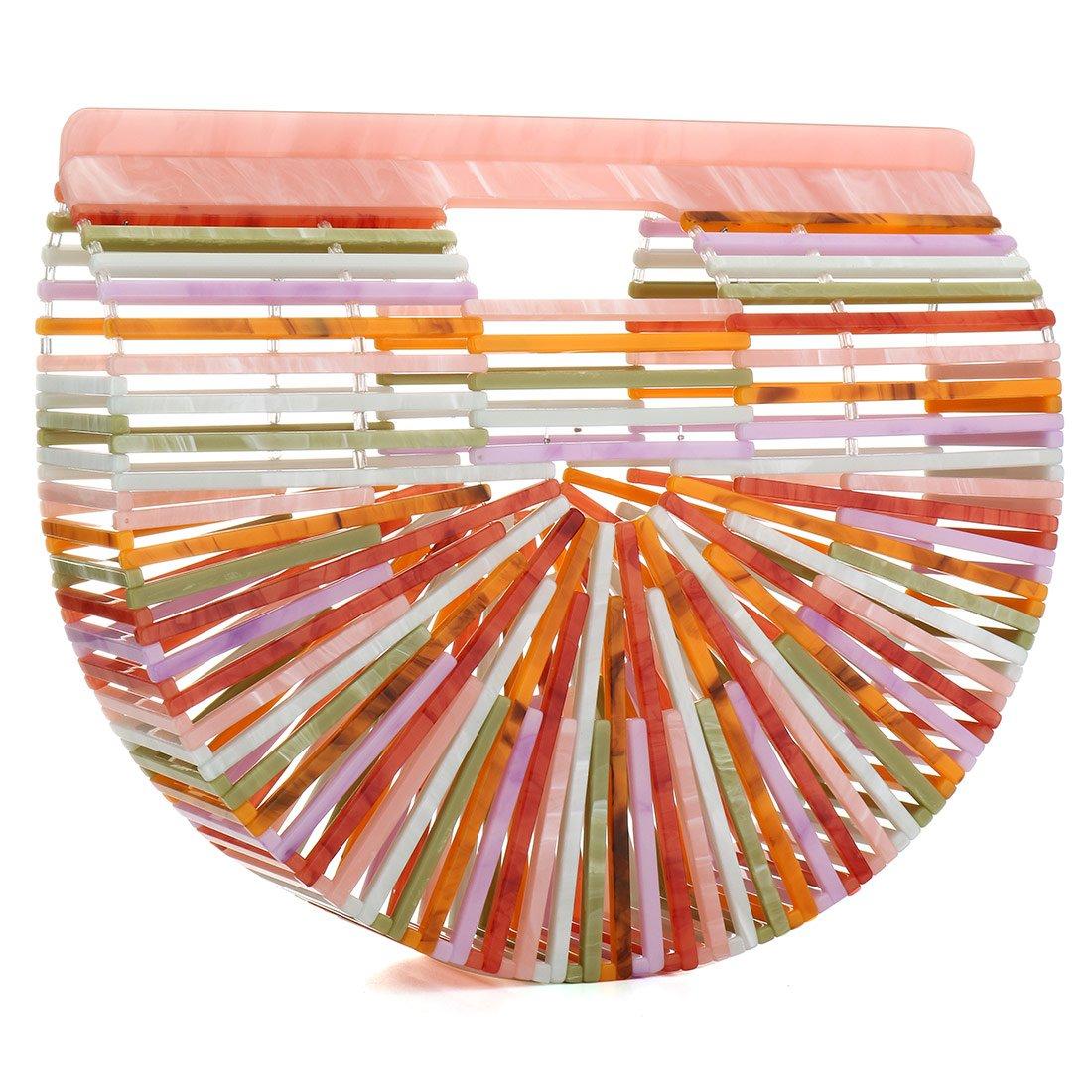 Womens Rainbow Acrylic Handbag Handmade Ark Clutch Purse Tote Beach Bag for Woman