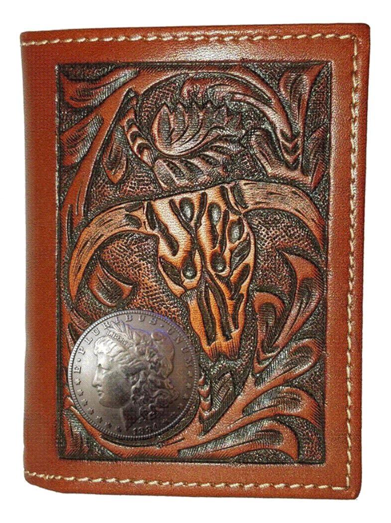Custom Morgan Dollar Heads Cow Skull Trifold wallet
