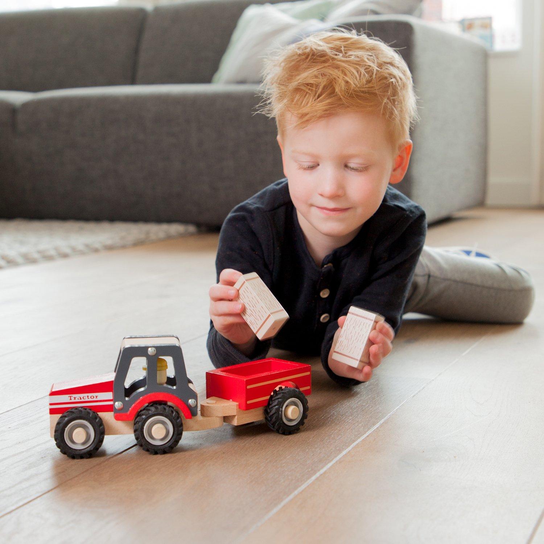 New Classic Toys 11941 Traktor mit Anhänger und Tieren Holzspielzeug Bauernhof