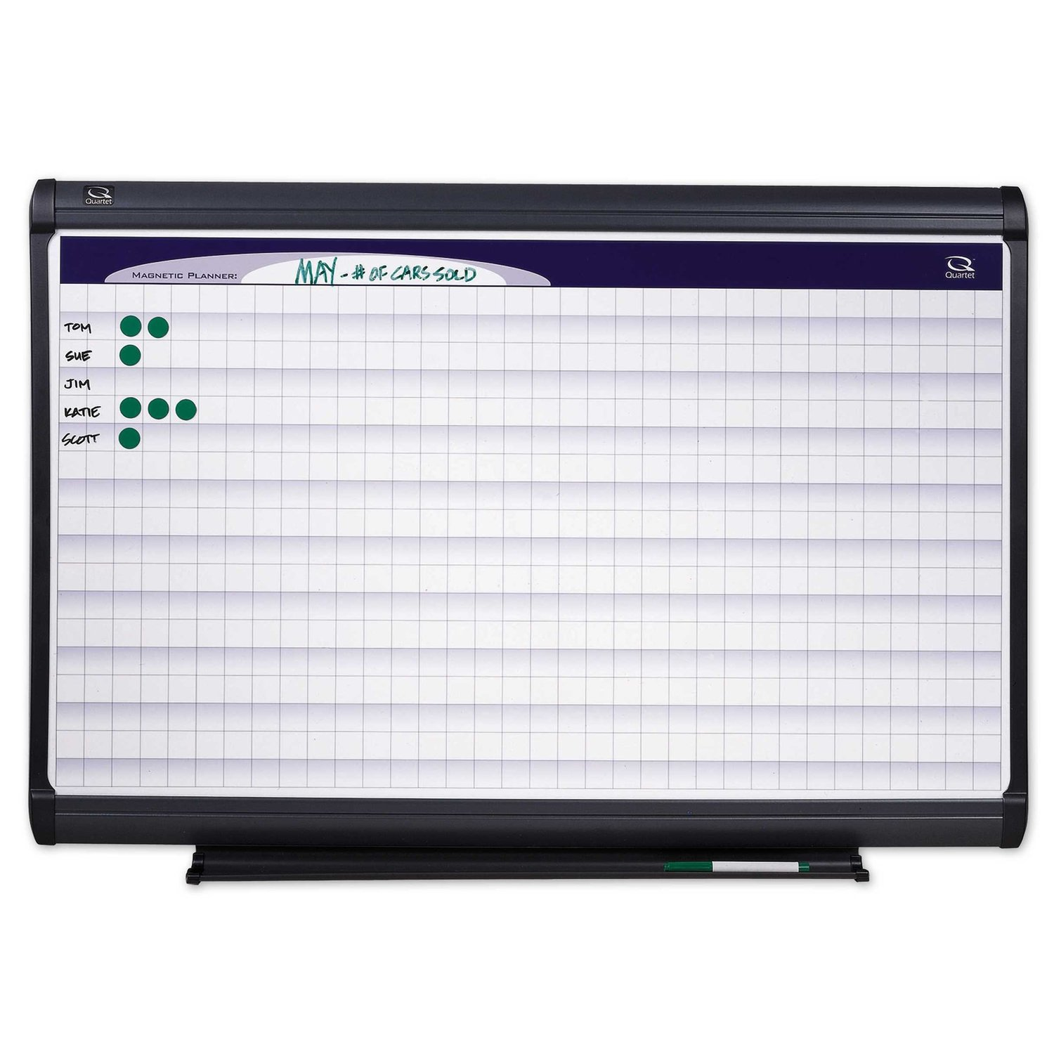 Quartet PP1164 Quartet Planning System, Porcelain-On-Steel, 1x1 Grid, 72 x 48, Aluminum Frame