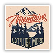 2 x Mountains Explore More Vinyl Stickers
