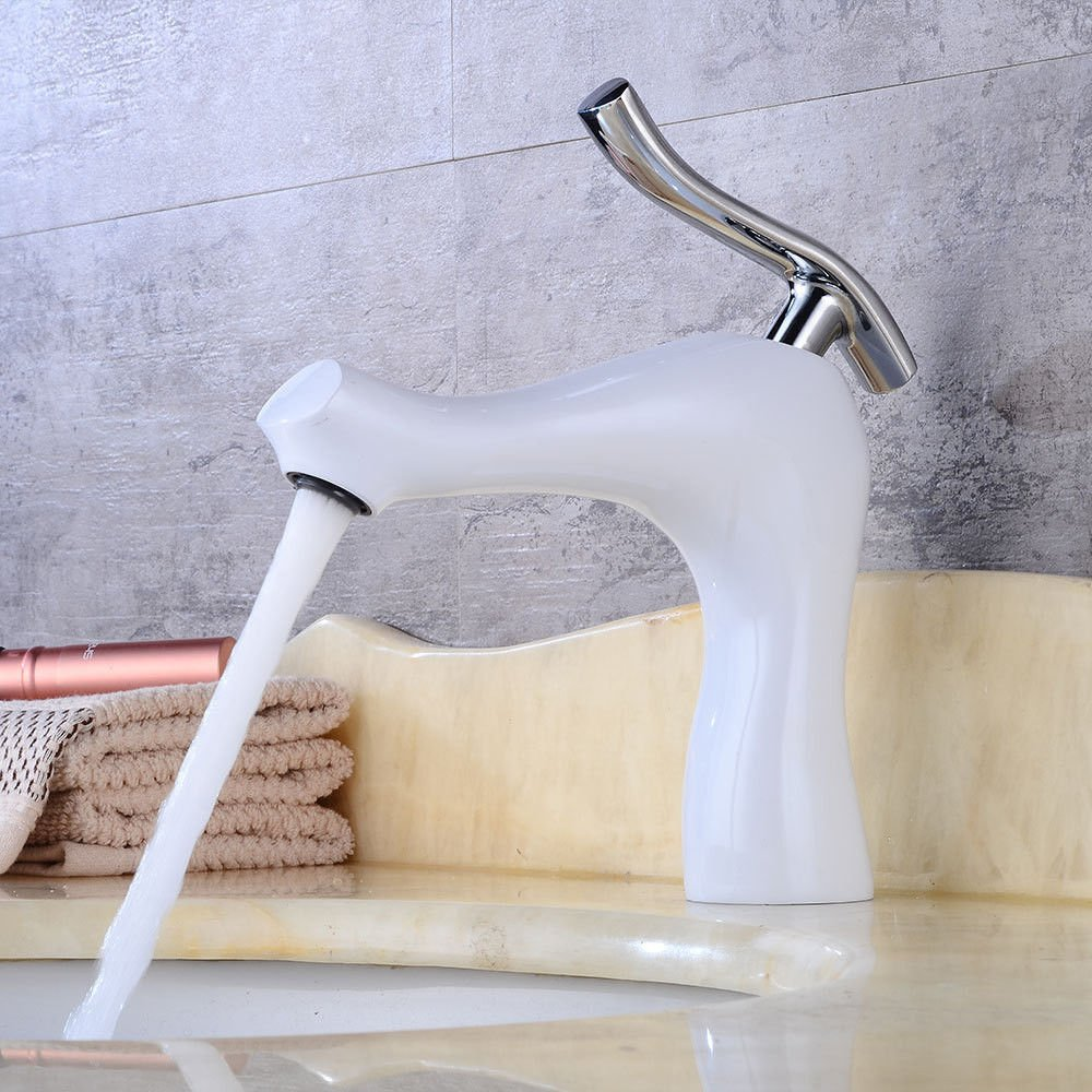 Lpophy Bathroom Sink Mixer Taps Faucet Bath Waterfall Cold and Hot Water Tap for Washroom Bathroom and Kitchen Paint White Mixed Single Hot and Cold