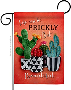 Breeze Decor Prickly But Beautiful Garden Flag Regional Southwest Desert Cactus Country Succulent Particular Area House Decoration Banner Small Yard Gift Double-Sided, Made in USA