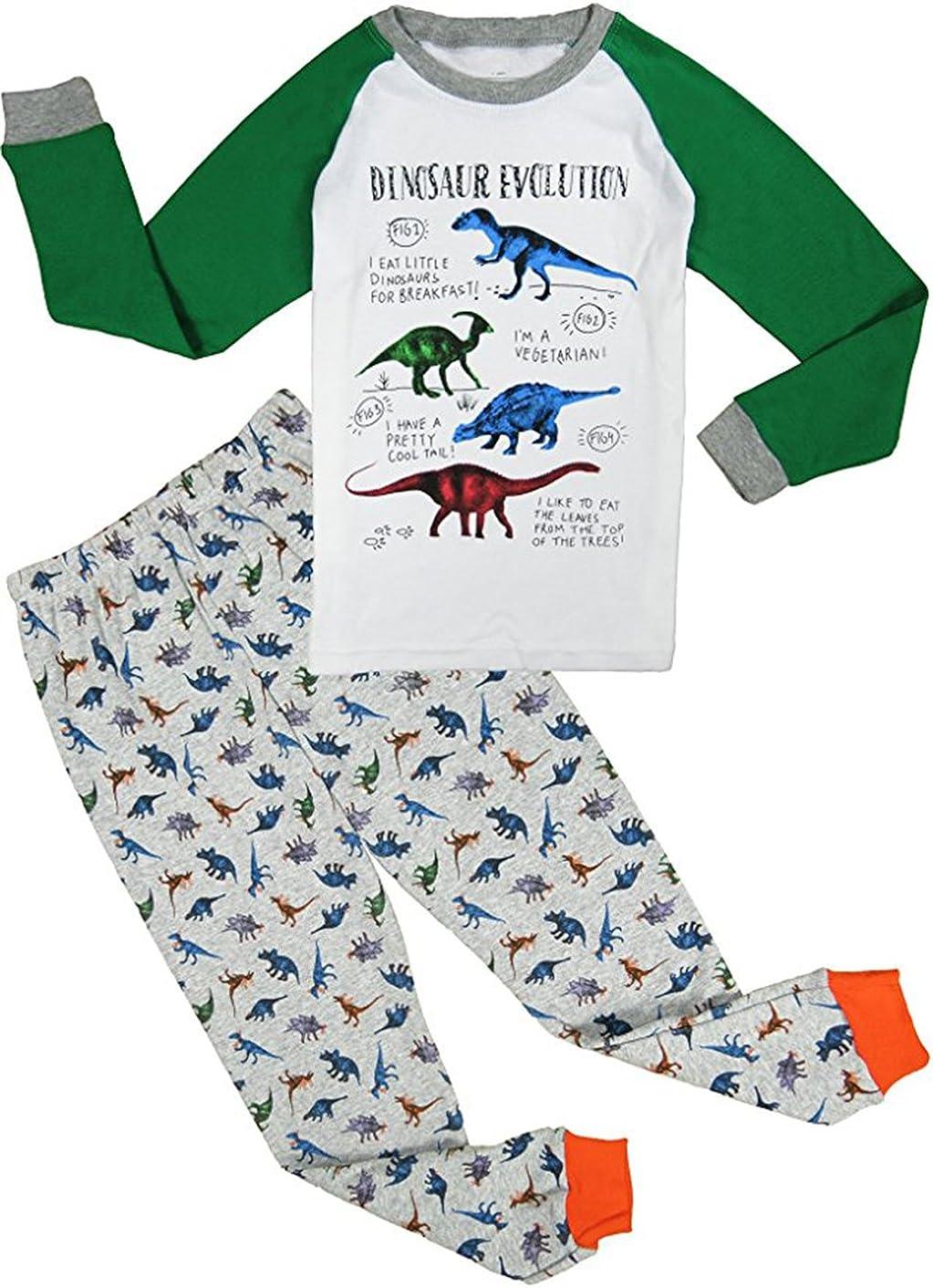 Babyfashion Pigiama da 2 Pezzi di Dinosauro eccetera Sia Par Bambino Sia per Ragazzo Sono 100/% di Cotone da 2 Anni Fino a 10 Anni